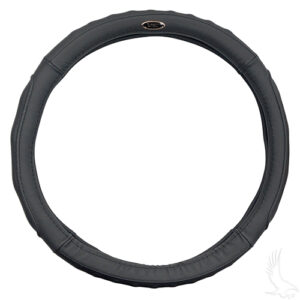 "Steering Wheel Cover, Black Leather, E-Z-Go 01-, Club Car 82-10, Yamaha (13.65""-14"")"