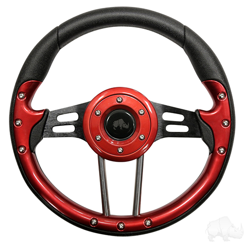 "Steering Wheel, Aviator 4 Red Grip/Black Spokes 13"" Diameter"