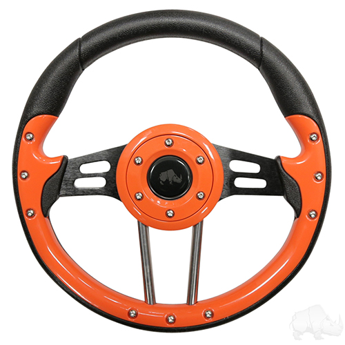 "Steering Wheel, Aviator 4 Orange Grip/Black Spokes 13"" Diameter"