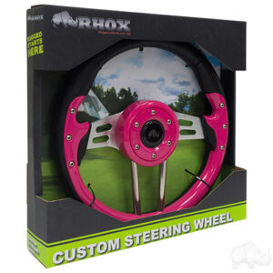 "Steering Wheel, Aviator 4 Pink Grip/Brushed Aluminum Spokes 13"" Diameter"