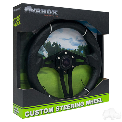 "Steering Wheel, Challenger Black Grip/Black Spokes 13"" Diameter"