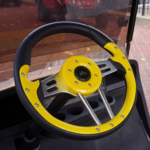 "Steering Wheel, Aviator 4, Yellow Grip/Black Spokes, 13"" Diameter"