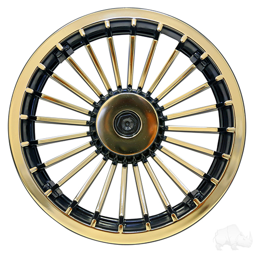 "Wheel Cover, 8"" Turbine Black/Gold"