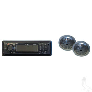 Stereo, Pyle Receiver with Black Pyle Speakers