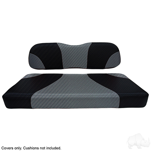 Seat Cover Set, Sport Black Carbon Fiber/Gray Carbon Fiber, Club Car DS