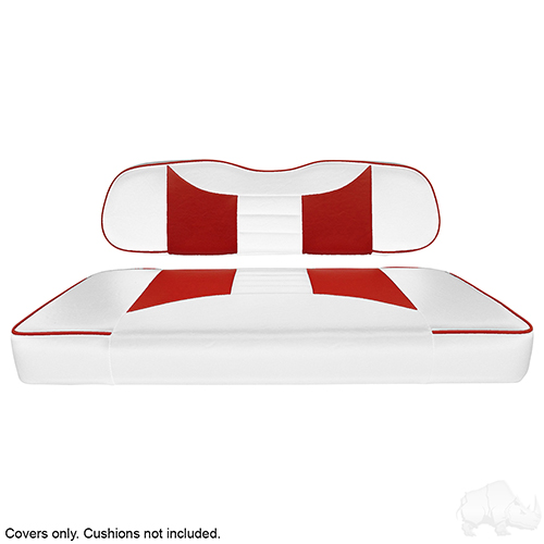 Seat Cover Set, Rally White/Red, Club Car DS