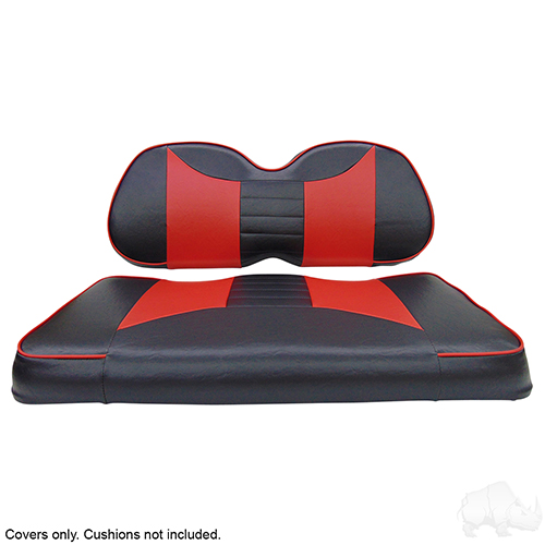 Seat Cover Set, Rally Black/Red, Club Car Precedent