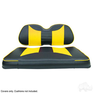 Seat Cover Set, Rally Black/Yellow, Club Car Precedent