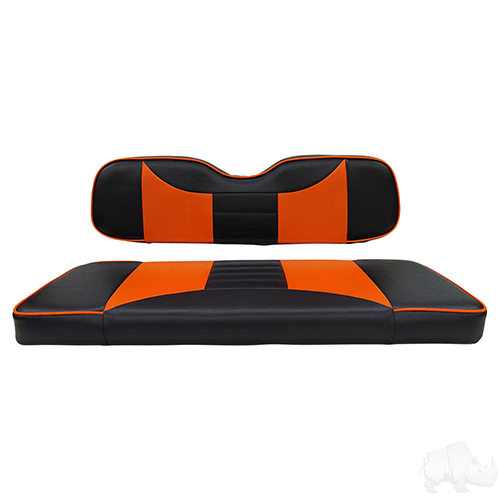 RHOX Rhino Seat Kit, Rally Black/Orange, Club Car DS