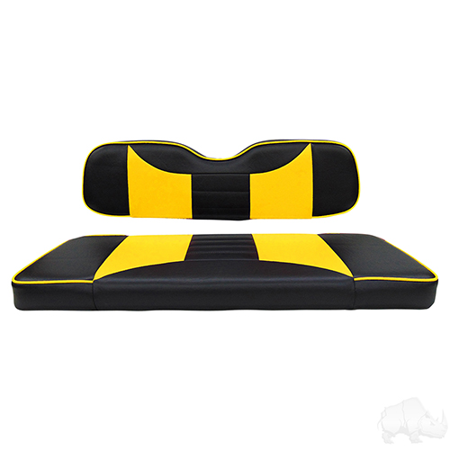 RHOX Rhino Seat Kit, Rally Black/Yellow, Club Car DS