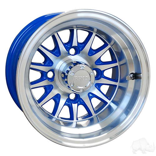 RHOX Phoenix, Machined w/ Blue w/ Center Cap, 10x7 ET-15.5
