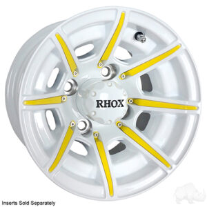 RHOX RX153, 8 Spoke White w/ Center Cap, 10x7 ET-22