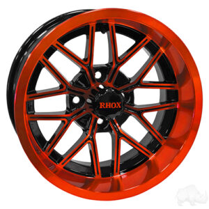 RHOX RX281, Gloss Black with Orange, 14x7 ET-25