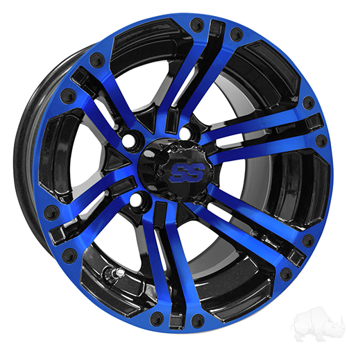 RHOX RX334 Black and Blue w/Center Cap, 12x7 ET-25