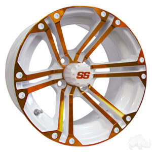 RHOX RX354 White and Orange w/Center Cap, 14x7 ET-25