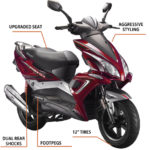 "The Fury 150cc was added to the Bintelli family in 2016 and has been hard to keep in stock! It's large body features 12"" tires, aggressive styling, and enough seating to comfortably fit two riders. Available in Burgundy, Black, and Blue, it's easy to see why it has become so popular, so quick! As with our other scooters, the Fury comes fully loaded with many upgraded features such as Duro Tires, Yuasa Battery, NGK Spark Plug, Gates Belt, Halogen Headlight, Stainless Steel exterior hardware, and a 2 year limited warranty."
