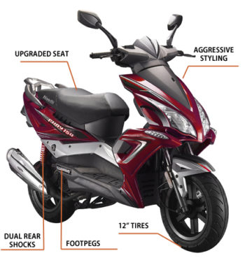 """The Fury 150cc was added to the Bintelli family in 2016 and has been hard to keep in stock! It's large body features 12"""" tires, aggressive styling, and enough seating to comfortably fit two riders. Available in Burgundy, Black, and Blue, it's easy to see why it has become so popular, so quick! As with our other scooters, the Fury comes fully loaded with many upgraded features such as Duro Tires, Yuasa Battery, NGK Spark Plug, Gates Belt, Halogen Headlight, Stainless Steel exterior hardware, and a 2 year limited warranty."""